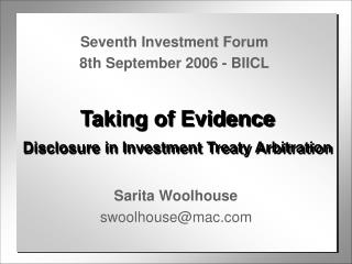 Taking of Evidence Disclosure in Investment Treaty Arbitration
