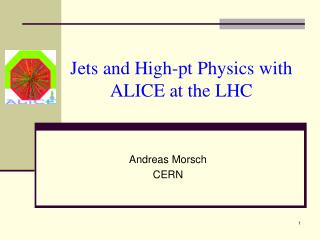 Jets and High-pt Physics with ALICE at the LHC