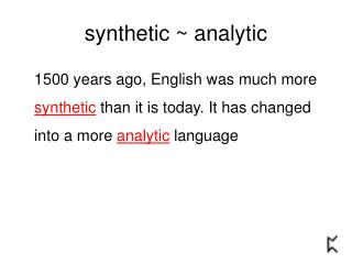 synthetic  ~  analytic