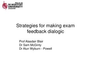 Strategies for making exam feedback dialogic