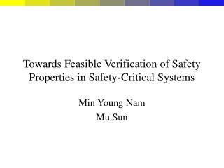 Towards Feasible Verification of Safety Properties in Safety-Critical Systems