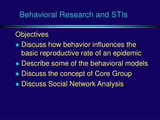 Behavioral Research and STIs