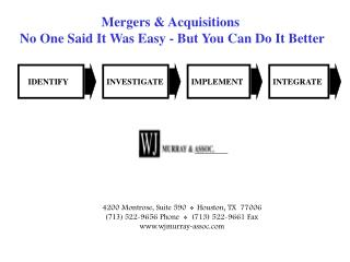 Mergers & Acquisitions  No One Said It Was Easy - But You Can Do It Better