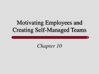 Motivating Employees and Creating Self-Managed Teams