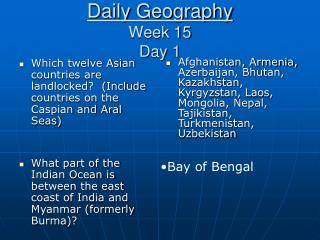 Daily Geography Week 15 Day 1