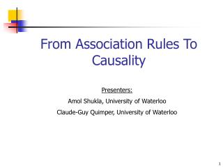 From Association Rules To Causality