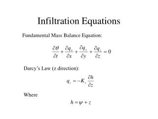 Infiltration Equations