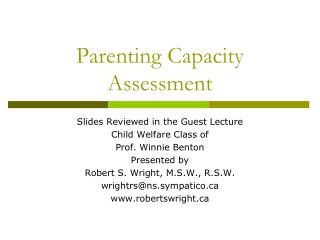 Parenting Capacity Assessment
