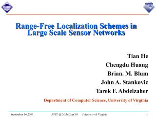 Range-Free Localization Schemes in Large Scale Sensor Networks