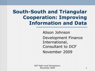 South-South and Triangular Cooperation: Improving Information and Data