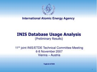 INIS Database Usage Analysis (Preliminary Results)