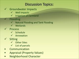 Discussion Topics: