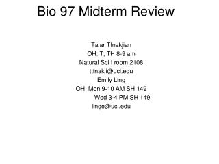 Bio 97 Midterm Review