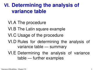 VI.	 Determining the analysis of variance table