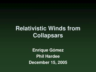 Relativistic Winds from Collapsars
