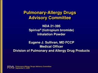 Pulmonary-Allergy Drugs  Advisory Committee