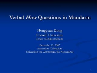 Verbal  How  Questions in Mandarin