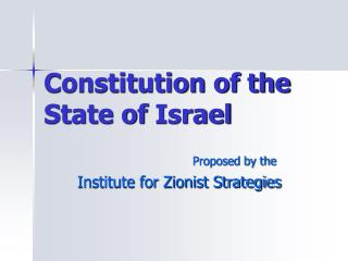 Constitution of the  State of Israel