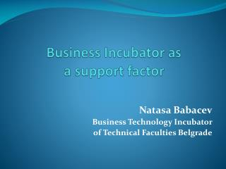 Business Incubator as  a support factor