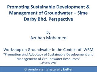 Groundwater is naturally better