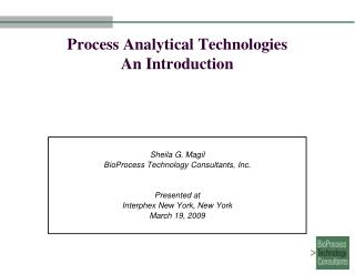 Process Analytical Technologies An Introduction