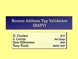 Bounce Address Tag Validation (BATV)