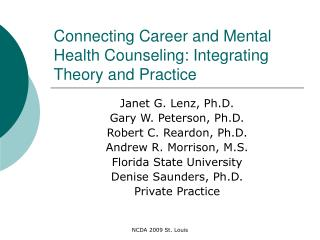 Connecting Career and Mental Health Counseling: Integrating Theory and Practice