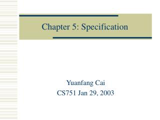 Chapter 5: Specification