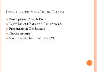 Introduction to Book Chats