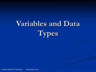 Variables and Data Types