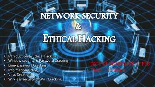 Introduction  to  E thical Hacking Window security & Password Cracking Linux password Cracking