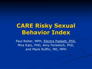 CARE Risky Sexual Behavior Index
