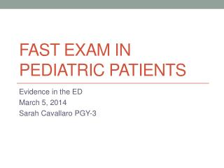 FAST Exam in pediatric patients