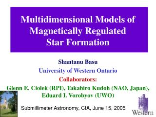 Multidimensional Models of Magnetically Regulated        Star Formation