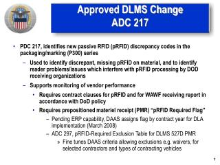 Approved DLMS Change ADC 217