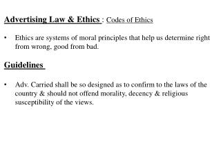 Advertising Law & Ethics  :  Codes of Ethics