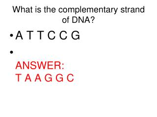 What is the complementary strand of DNA?