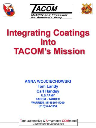 Integrating Coatings Into  TACOM's Mission