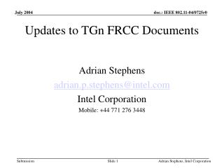 Updates to TGn FRCC Documents