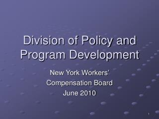 Division of Policy and Program Development