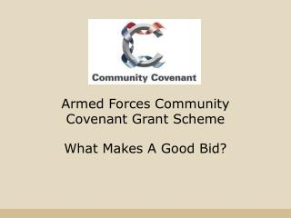 Armed Forces Community Covenant Grant Scheme