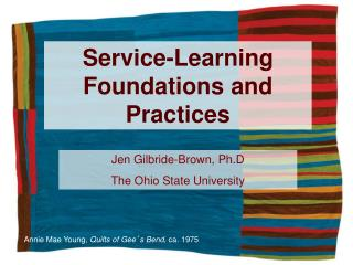 Service-Learning Foundations and Practices