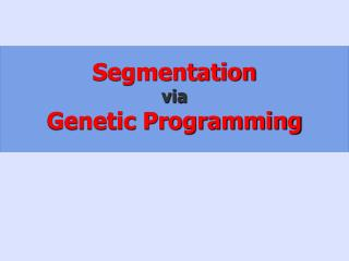 Segmentation via Genetic Programming