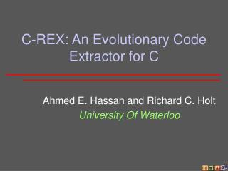 C-REX: An Evolutionary Code Extractor for C