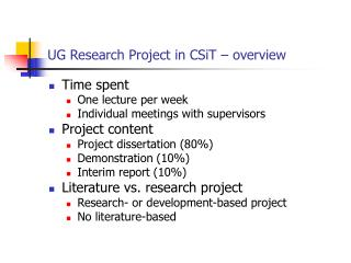 UG Research Project in CSiT – overview