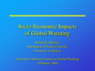 Socio-Economic Impacts of Global Warming