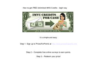 How to get FREE Unlimited IMVU Credits – legit way