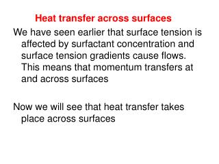 Heat transfer across surfaces