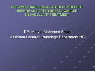 SPECIMEN HANDLING & PATHOLOGY REPORT BEFORE AND AFTER BREAST CANCER NEOADJUVANT TREATMENT