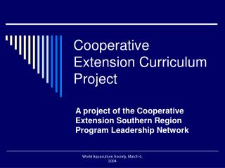 Cooperative Extension Curriculum Project